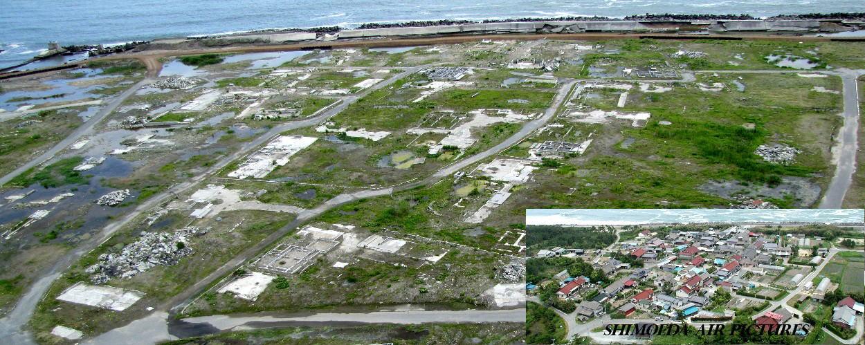 南相馬市原町区小沢の震災前後の空撮写真